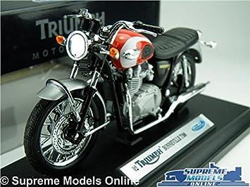 Triumph Bonneville T100 Motorbike Model 118 Scale Redsilver Welly