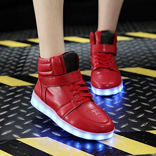 O & N 7 Colori Donna Uomo Led Sneakers Lampeggianti Alto Top Illuminano Scarpe Stringate Caricabatterie Usb Regalo Rosso