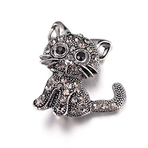 YAN YAN Cute Black Cat Brooch, Silver Plated Alloy with 1.2 x 0.9 inches (Pin Crystal Black Cat)