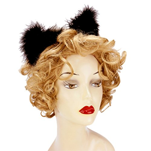 [Rosemarie Collections Women's Halloween Costume Furry Animal Ears Headband] (Devil Costume Party City)