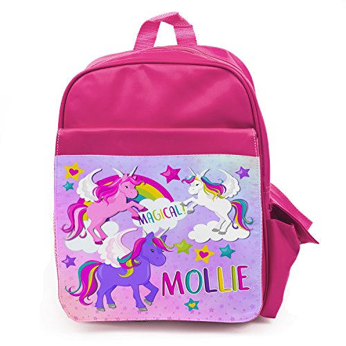 e9409527a8 Personalised Girls School Bag UNICORN MAGICAL Pretty Backpack Kids Book Childrens  Rucksack - Pink KS152 - Buy Online in KSA. Luggage products in Saudi ...