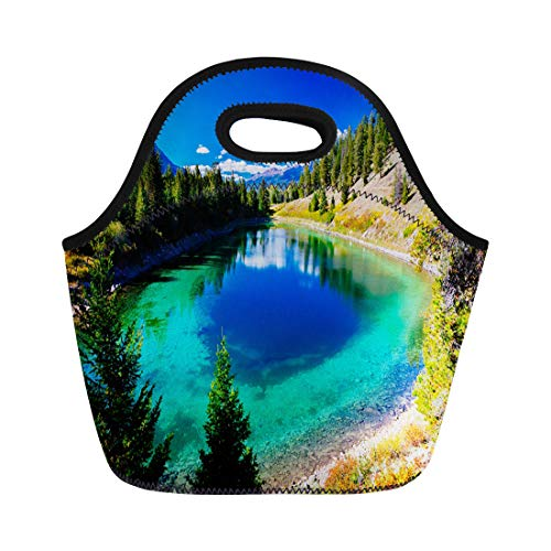 (Semtomn Lunch Tote Bag the Valley of Five Lakes Hike Offers Clear Unique Reusable Neoprene Insulated Thermal Outdoor Picnic Lunchbox for Men Women)