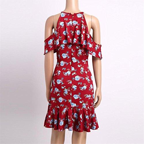 Rot Blumenkleid ❤️ BURFLY Mode Frauen Schulterfrei Printed Knielanges Kleid Lose Party Kleid Cute Dress Rot bdgKnGn