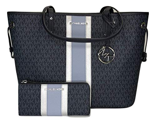 MICHAEL Michael Kors Jet Set Travel Large Drawstring Tote bundled with Jet Set Travel LG 3/4 Zip Wallet (Signature MK Admiral/Blue Center Stripe)