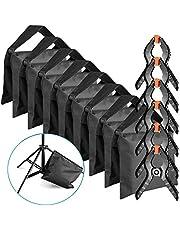 Neewer 8-Pack Tarea Pesada Saco de Arena (Azul / Negro) para Foto Estudio Luz Soporte Boom Brazo con 6-Pack Musel Telón de fondo Abrazaderas Clips(Saco de Arena Vacío)