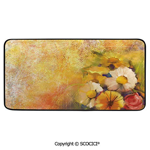 Daisy Rose Bouquet - Print Door Mat, Indoor Floor Area Carpet Compatible Bedroom,Living Room,Children, Playroom, Bathroom,Yellow Flower,Oil Painting Style Bouquet of Rose Daisy Flowers Grunge,39
