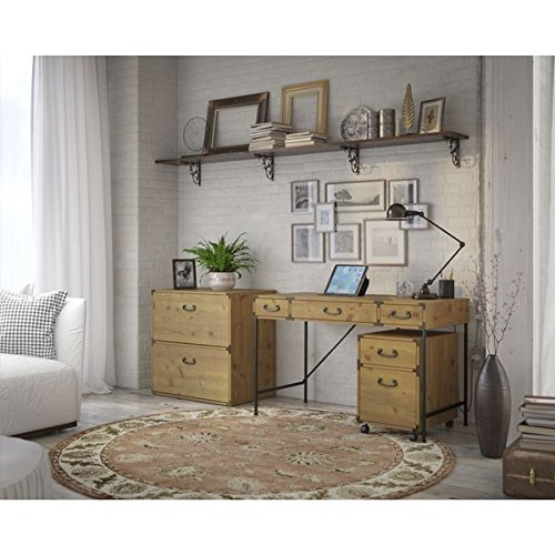 kathy ireland Office by Bush Furniture Ironworks 48-inch Wide Writing Desk, 2-drawer Mobile Pedestal, and Lateral Filing Cabinet by Kathy Ireland by Bush