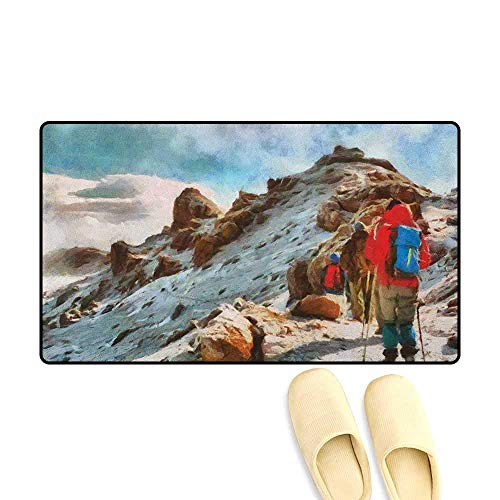 - YGUII Mountain Door Mats Area Rug Group of Trekkers Hiking Among Snows of Kilimanjaro in Winter in Painting Style 16X23.6in (40x60cm) Multicolor