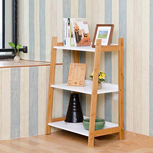 (ChuanHan Creative Bamboo Corner Wall Shelf Bookcase Corner Three-Tier Rack, White, 603784cm)