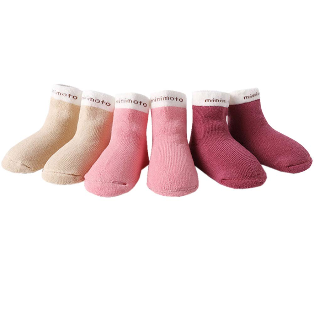 3 Pairs Minimoto Baby socks Toddler Cotton Crew Socks Ankle Thick Warm No Seam Soft Cute Socks for Boys Girls