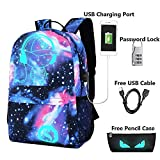 Lmeison Anime Cartoon Luminous Backpack with USB Charging Port and Lock...