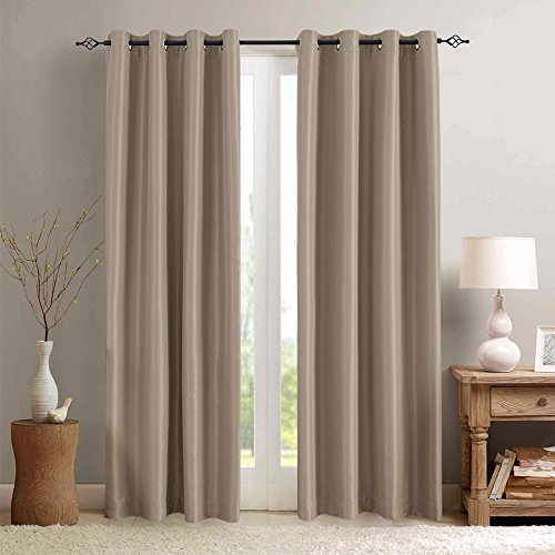 Blackout Curtains for Bedroom Faux Silk Window Curtain Set Thermal Insulated Living Room Grommet ...