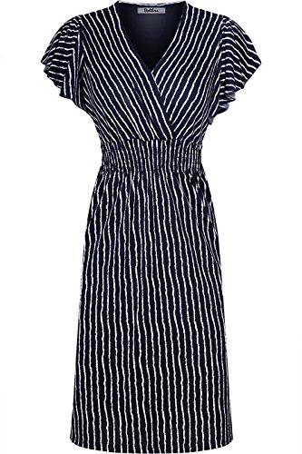 2LUV Women's Ruffle Sleeve Printed Smocked Empire Waist Midi Summer Dress Navy L (Smocked Dresses Empire)