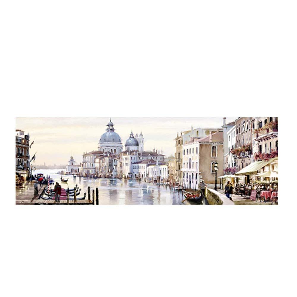 compras online de deportes QIAISHI Ciudad de Agua Agua Agua Abstracta de Venecia Pintura al óleo sobre Lienzo Resort Barcos Edificios Carteles e Impresiones Arte de la Parojo para la Sala de Estar  marcas de diseñadores baratos