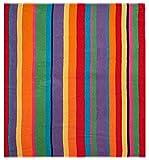 Cotton Craft - Luxury Beach Towel for Two 58x68 - Beach Blanket - Summer of Siam Multi Stripe.
