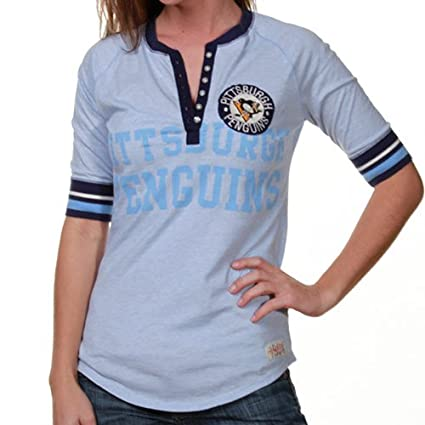 4e2925b09bbc Mitchell & Ness Pittsburgh Penguins Ladies Light Blue Neutral Zone Henley  Premium Long Sleeve T-