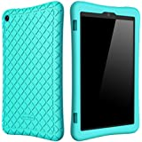 Bear Motion Silicone Case for Fire HD 8 2017 - Anti Slip Shockproof Light Weight Kids Friendly Protective Case for All-New Fire HD 8 Tablet with Alexa (7th Gen 2017 Model) (Seafoam Teal (Vendor Green))
