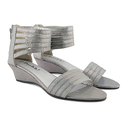 Footwear Sensation - Puntera abierta, tira al tobillo mujer Negro - plata
