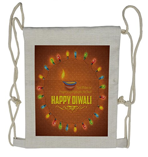 Lunarable Diwali Drawstring Backpack, Traditional Motif Pattern, Sackpack Bag by Lunarable