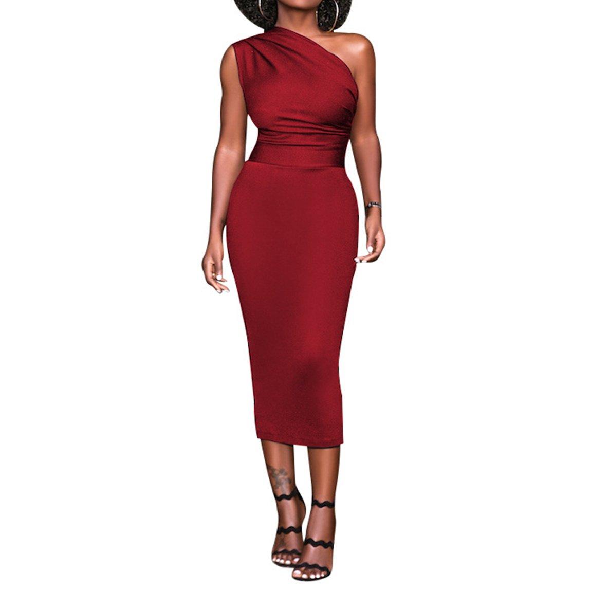 Damen One-Shoulder Bodycon Etuikleid Paket-Hüfte-Kleid Business ...