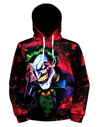(Hatoat Joker 3D Hoodies for Men Poker Sweatshirt Spring Clothing Anime Clown)