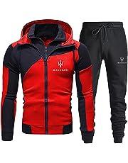 Woakzhe Ma.se-ra.ti Trainingspak voor heren, met capuchon, casual, outdoor, dubbele ritssluiting, katoenen gebreide jas, hoodies en sportbroek