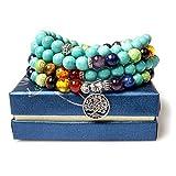 Jewelry,8MM Turquoise Healing 108 Buddhist Prayer Mala Beads Tree of Life 7 Chakra Bracelet Necklace
