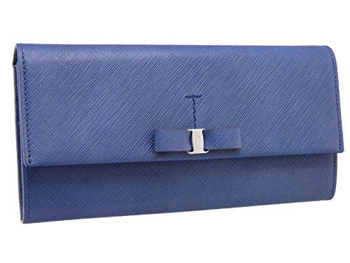 フェラガモ 長財布 ヴァラリボン レディース 青 JP-22-A994 ブルー ライトネイビー 二つ折り カーフ シルバー Ferragamo レザー(M205665) [並行輸入品] B07CNN64XL