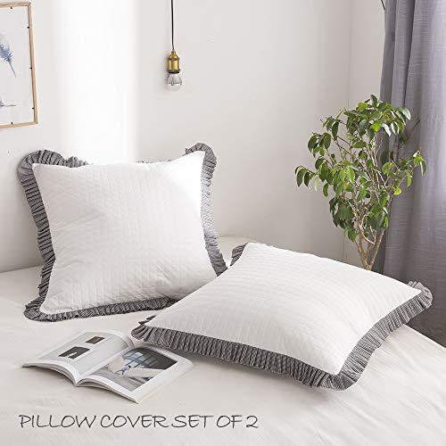 Simple&Opulence Ruffled Plaid Euro Pillow Sham 100% Cotton Cushion Cover Set of 2 (Black and White, Euro 26