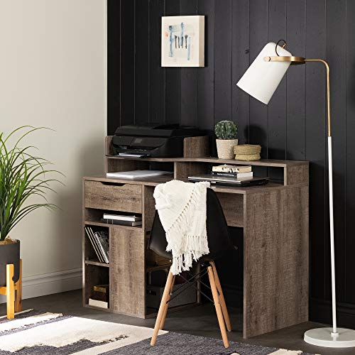 South Shore 12286 Holland Hutch and Storage, Weathered Oak Desk