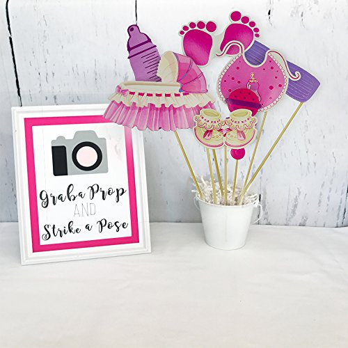 Baby Shower Photo Booth Prop + Party Banner Bunting - Newborn Monthly Ideas Gender Reveal Favors Supplies Decorations It's a Girl DIY Photography Selfie Birthday Christmas Gift for 1st Mom Daddy to be by Swibitter (Image #3)
