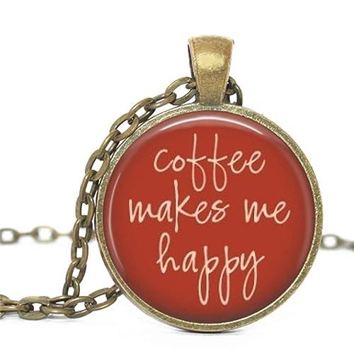 Coffee Lover Glass Pendant Bronze Handmade Art Necklace Gift Present