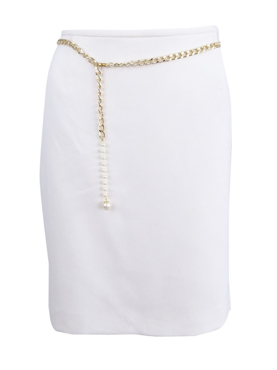 Tahari ASL Women's Petite Chain-Belt Pencil Skirt (14P, Cloud)