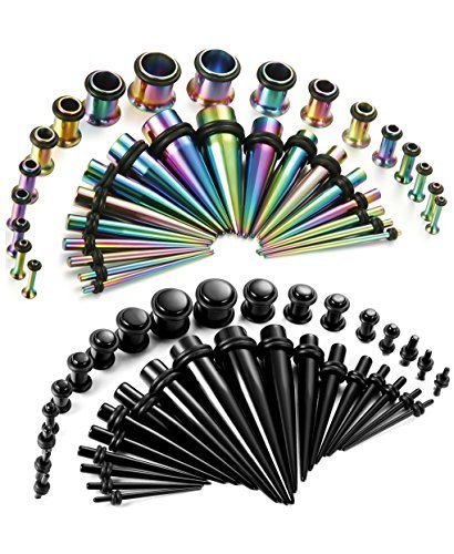 Thunaraz 72Pcs Stretchers Kit Acrylic Tapers 14G-00G Stainless Steel Gauges Set Coloful