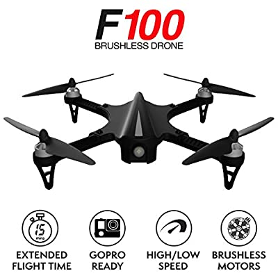 Force1 Brushless Quadcopter Drone F100 - Hero 3 or 4 Compatible GoPro Drone with 2 Batteries, Advanced Brushless Motors for Longer, Quieter Flight (Camera not Included) by Force1