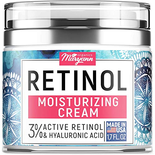 MARYANN Organics Retinol Cream - Made in USA - For All Skin Types - Anti Aging Effect - With Hyaluronic Acid & Vitamin E - Anti wrinkle Cream & Facial Moisturizer for Women - 1,7 OZ
