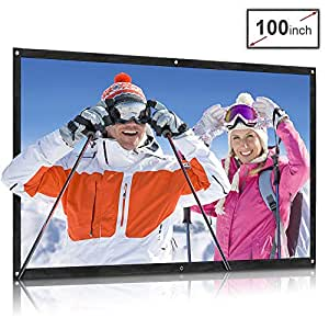 QKK Projector Screen 100inch 16:9 Front and Rear Projection Screen Portable Simple Mounted Screen Curtain for Home Theater, Movie, Party, Outdoor Activities and More