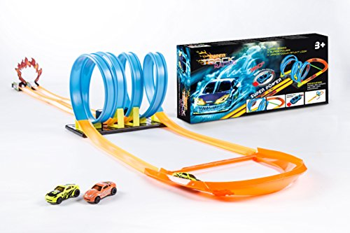 Racing Fun Set (Super Track Racing Quad 360 Loop Set Pull Back Cars to Launch no Batteries Needed Age Appropriate for Boys and Girls 3 Plus Build Creative and Cognitive Skills in a)