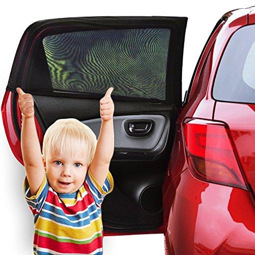 Sonnenschutz Auto Baby (2 Stück) – Sonnenblende Auto mit UV Schutz für Kinder, Hund im Rücksitz – Einfache und schnelle Anbringung an den ganzen Seitenfenster ohne Saugnapf – Sonnenschutz, dank faltbares Meshmaterial passt genau an den Seitenscheiben