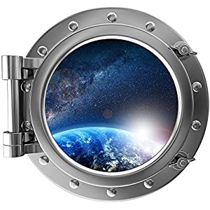 "12"" Port Scape Instant Space ship Window View PLANET SUNRISE #2 Earth SILVER Porthole Wall Decal Sticker Graphic Mural Home Kids Game Room Art Decor NEW"