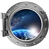 """12"""" Port Scape Instant Space ship Window View PLANET SUNRISE #2 Earth SILVER Porthole Wall Decal Sticker Graphic Mural Home Kids Game Room Art Decor NEW"""