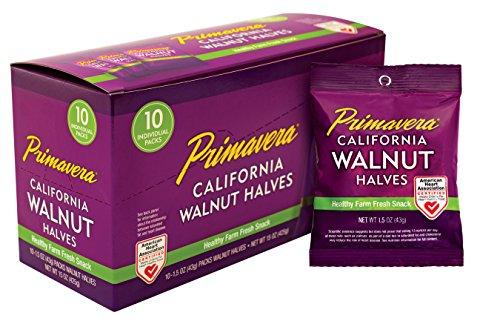 Walnut Package - Snack Pack Walnuts, Linden's Best, Primavera Brand 10-1.5 bags Light Halves