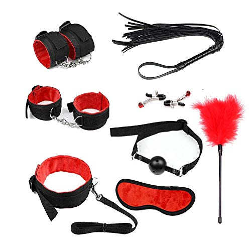 Cat Tail Butt Play Plug BDSM Sex Bondage Set Handcuffs Ankle Cuffs Anal Plug Whip Gag Rope Blindfold Sex Accessories For Couples Adult Erotic Toys,black Red 8pcs,butt Sex Plug Set Fox T