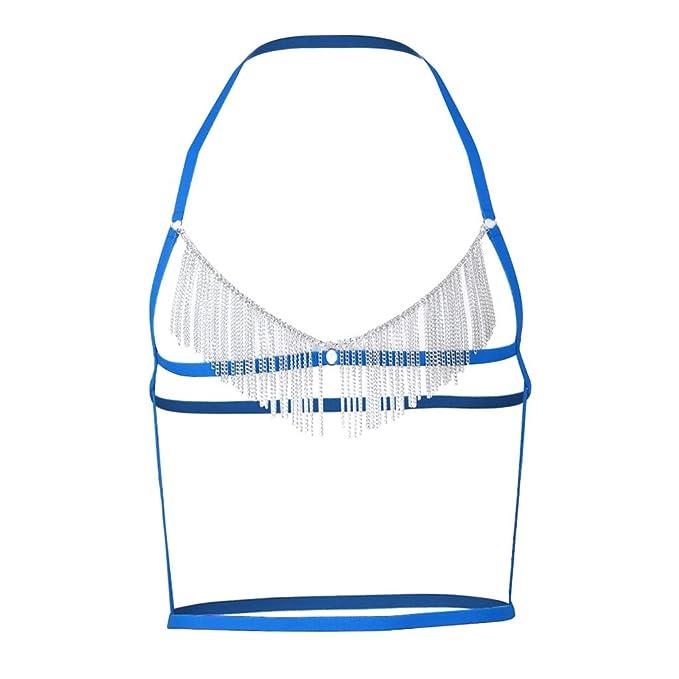 B Baosity Sujetador de Correa Clubwear Hombres Strechy Band Tejido de Alta Calidad Duradero Fácil de Limpiar - Azul, Única: Amazon.es: Ropa y accesorios