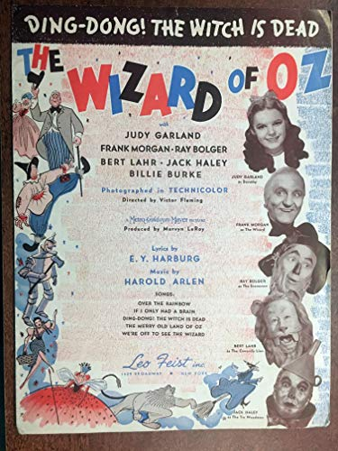 DING-DONG! THE WICKED WITCH IS DEAD (Harold Arlen SHEET MUSIC ) 1939 from the film THE WIZARD OF OZ with Judy Garland (pictured); sheet music is in excellent condition and quite rare. Beautiful item from this wonderful film! P28