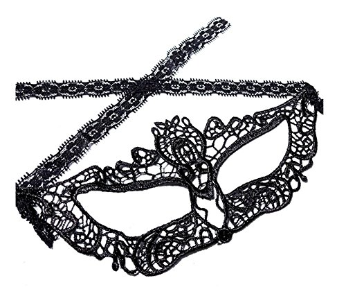 Venice Carnival Costumes To (Haodou Women Venice Mask Masquerade Punk Mask Lace Hollow Face Eyes Veil Halloween Carnival Cosplay Cover Headdress Black)