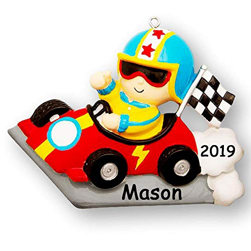 Personalized Speedy Race Car Driver Christmas Ornament Holiday Decoration with Custom Name and Date (Speedy Race)