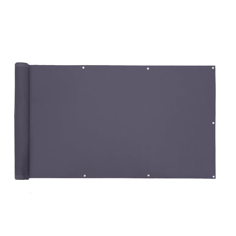 SONGMICS Copertura per Balcone Protezione della Privacy Schermo in Poliestere Senza Viti Permeabile Ideale per Estate ed Inverno 90 x 600 cm Grigio Fumo GCO90GY