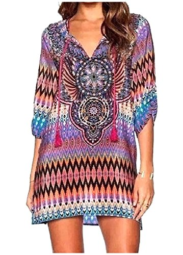and Folk Purple Dress Long Style Colors Various Coolred Prints Women Sleeve gU1Uf6