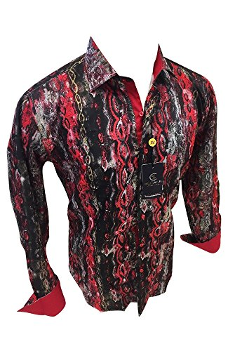 Men's Suslo Couture Designer Shirt Woven Button Up Colorful Red Black Multicolor Abstract Geometric Design 810-10 (XL) Couture Black Dress
